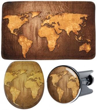 3-teiliges Badezimmer Set World Map