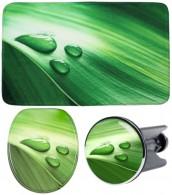 3-teiliges Badezimmer Set Green Leaf