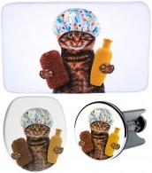 3-teiliges Badezimmer Set Shower Cat