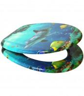 WC-Sitz mit Absenkautomatik Delphin Korallen